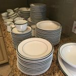 About 100 Pieces Everyday Dishes 'White w/Green' $200