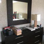 Large Square Black Mirror $200, Wood Lamp $75
